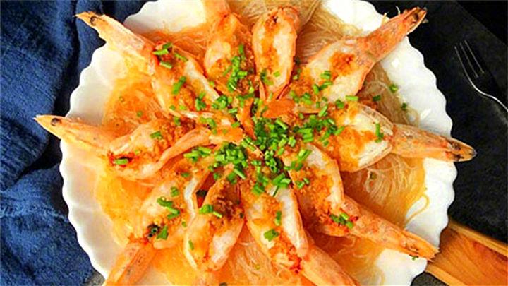 蒜蓉粉丝蒸虾|虾的高能吃法,简单易上手!