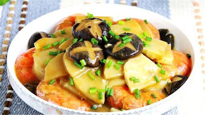 冬笋香菇烧大虾|味道浓郁,好看好吃又营养!