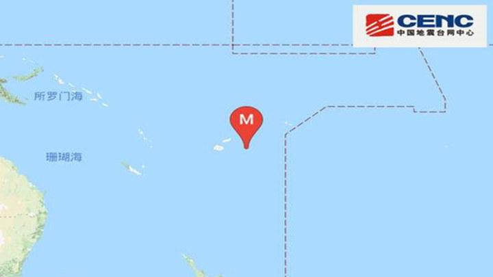 斐济群岛地区发生8.1级地震 震源深度570千米