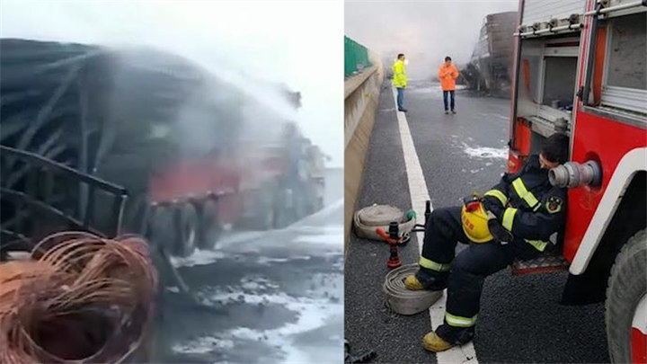 95后消防员奋战一夜救火,灭火后倚靠车身踩着水带睡着