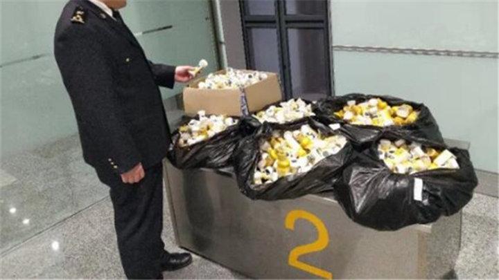 长沙机场口岸截获82公斤婴儿液体牛奶,为规避疫情风险销毁处理
