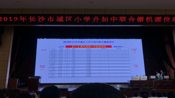 青竹湖湘一外国语学校开始派位,参与派位人数1526人,指标数408人