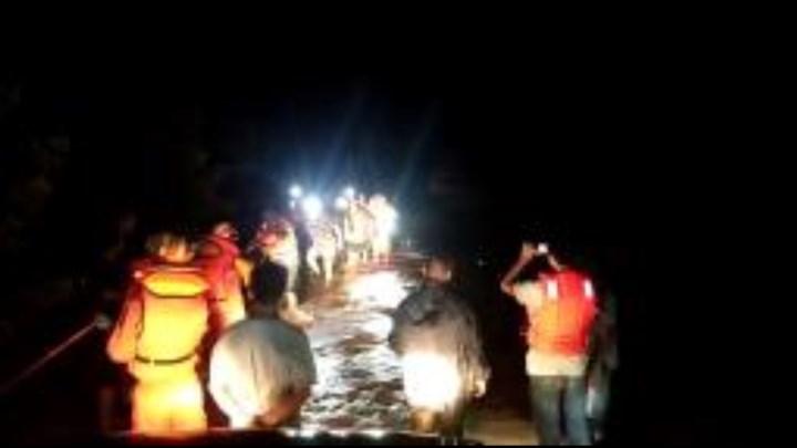 浏阳一家三口洪水中爬树避险,消防紧急救援