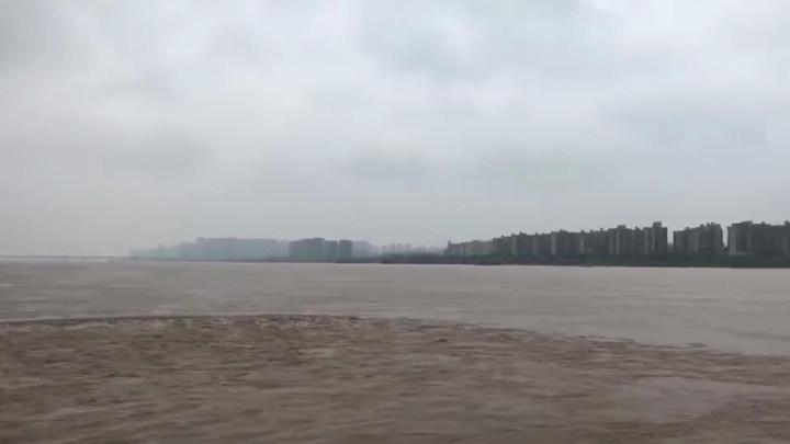 橘子洲上看湘江水流情况:问天台已经被淹没