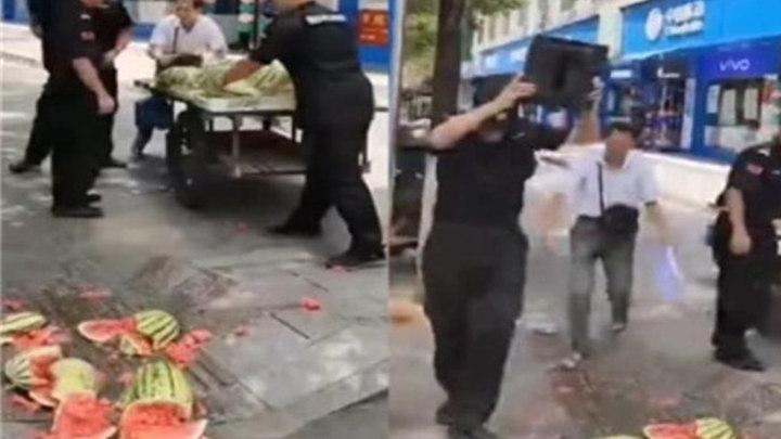 永州:五名社区保安打砸西瓜摊,街道办建议保安公司予以开除