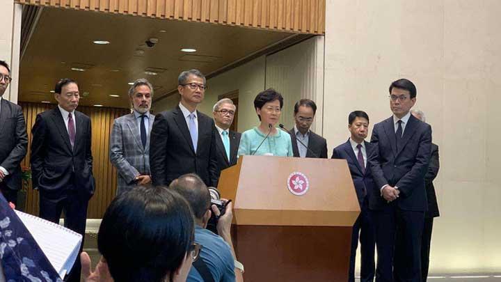 香港特区行政长官林郑月娥召开记者会